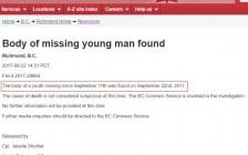 温哥华警方找到17岁中国留学生遗体 父母悲痛欲绝
