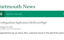 达特茅斯学院公布2025届申请人数:大涨33%,创历史新高