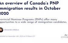 加拿大省提名移民的10月总结