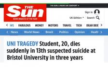 英国布里斯托大学又有学生自杀,美丽聪明女生,三年已13例!