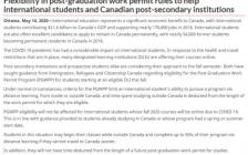 加拿大移民部:留学生最多50%课程可境外完成,不影响毕业后工作签证